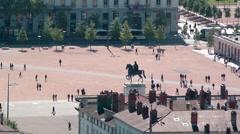 Lyon, Famous Place Bellecour Stock Footage