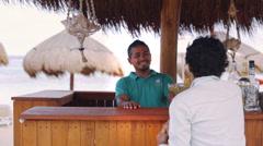 Bar in caribbean beach Stock Footage