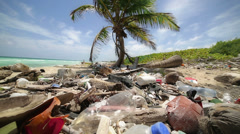Polluted  caribbean beach Stock Footage