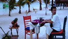 Man waiting on the table for her fiance - stock footage