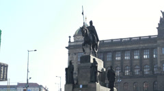 Statue in Wenceslas Square of Prague Stock Footage
