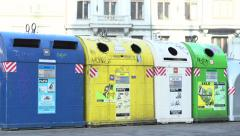 Multiple recycling bin containers in Prague Stock Footage