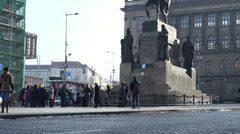 Statue of Saint Wenceslas on the eponymous square in Prague Stock Footage