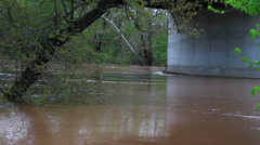 1497 Fast Moving River at Flood Stage Flooding Stock Footage