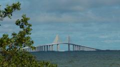 Famously tall Sunshine Skyway Bridge Medium shot Stock Footage