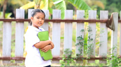 Closeup of young asian student before go to school Stock Footage