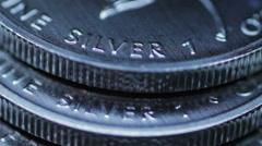 Fine Silver Bullion Coin Stock Footage