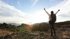 Happy free cheering enjoying freedom hiking Stock Footage