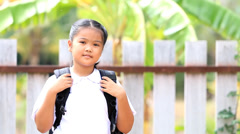 Closeup of young asian student before go to school - stock footage