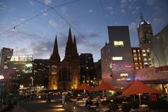 Evening St Paul's Cathedral in Melbourne across from Federation square Stock Photos