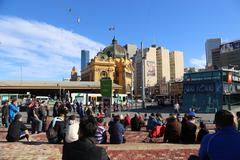 Day - Flinders St station seen from Federation Square Stock Photos