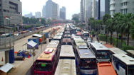 Traffic jam in downtown Jakarta Stock Footage