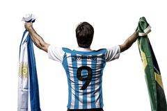 argentinian soccer player - stock photo
