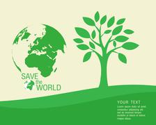 Ecological and save the world green Stock Illustration