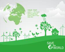 Ecological and save the world green - stock illustration