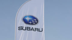 Car Subaru Test - Drive. Flag logo Subaru Stock Footage