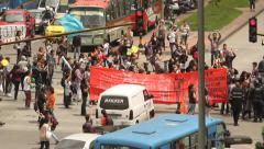 Labor Demonstration October 29, 2014 Bogota Colombia Stock Footage
