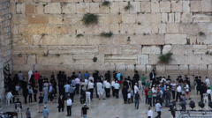 Top view of people pray at the western wall Stock Footage