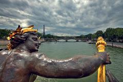 view on paris from alexander iii bridge. - stock photo