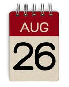 26 aug calendar Stock Photos