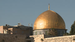Close up of the Golden Dome known as Dome of the Rock in Jerusalem Stock Footage