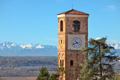 Old belfry. santa vittoria d'alba, italy. Stock Photos