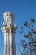 Architectural column of the socialist era Stock Photos