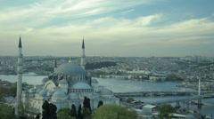 Aerial view of the famous mosque Suleymaniye at Istanbul time lapse Stock Footage