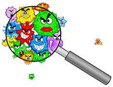 bacteria under a magnifying glass - stock illustration