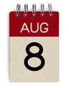 aug calendar - stock photo