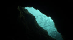 Underwater cavern with  blue water Stock Footage