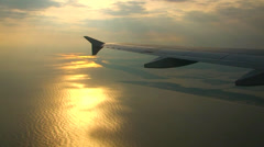 Airplane Wing at sunset Stock Footage