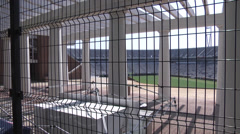 College campus football stadium Stock Footage