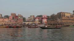 Varanasi-Dasaswamedh Ghat From Boat - stock footage
