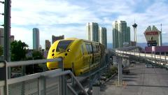 Las Vegas monorail traveling high - stock footage