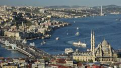 Bosporus, Bosphorus,  panoramic, aerial, skyline view of Istanbul, galata bridge Stock Footage