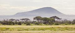 Volcanic crater on the flank of mount kilimanjaro Stock Photos