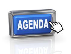 3d hand cursor button - agenda - stock illustration