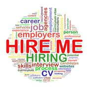 Word tags circular wordcloud of hire me Stock Illustration