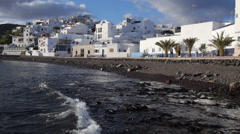 AERIAL: Fishing village on Canary island Fuerteventura Stock Footage