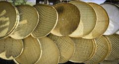 Handmade bamboo threshing basket - stock photo