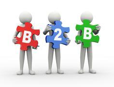 3d man puzzle piece - b2b - stock illustration