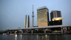 View of Tokyo Skytree from Sumida river Stock Footage