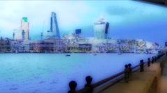 london skyline cartoon effect - stock footage