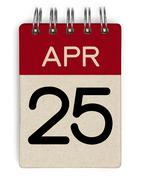 Stock Photo of 25 apr calendar