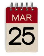 25 mar calendar - stock photo