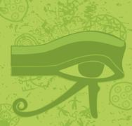 Grunge egyptian eye of horus , ancient deity, religious symbol, vector Stock Illustration