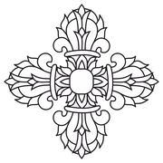 sacred buddhist religious symbol  - vajra or dorje,sanskrit word meaning both - stock illustration