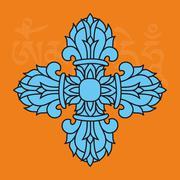 sacred buddhist religious symbol  - vajra or dorje, male attribute,vector - stock illustration