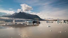 Blue icebergs floating Stock Footage